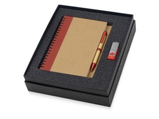 Набор подарочный Essentials: ручка, флешка и блокнот А5, коричневый/ красный фото