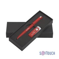 """Набор Chili: Ручка шариковая """"Jupiter"""" и флеш-карта """"Vostok"""" 8 Гб, покрытие soft touch, красный фото"""