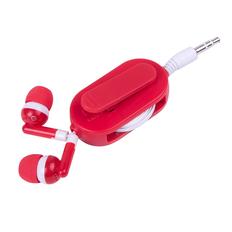 Наушники проводные внутриканальные, со светоотражателем и держателем, Rasum, красные фото
