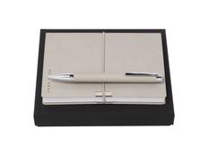 Набор подарочный Hugo Boss: блокнот А6, ручка шариковая, бежевый фото