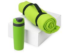 Подарочный набор Cozy с пледом и термокружкой, зеленый фото