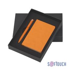 Набор подарочный Chili Лорен: блокнот Рим А6, ручка шариковая Jupiter, soft touch, оранжевый фото