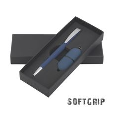 Набор подарочный: ручка шариковая Cobra Softrip MM, флеш-карта Камень 16Гб, покрытие soft grip, синий фото