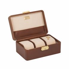 Шкатулка для часов и колец CEPI, кожа (на 3 часов), коричневый/золотистый фото