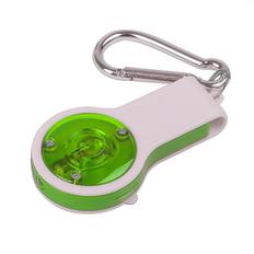 Брелок со свистком, фонариком и светоотражателем FLOYKIN на карабине, белый/зеленый фото