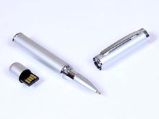 Флешка USB 2.0 на 8 Гб в виде ручки с мини чипом, серебряный фото