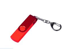 Флешка USB 2.0/micro USB/Type-С на 16 Гб 3-в-1 с поворотным механизмом, красная фото