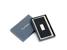 Визитница металлическая с вставкой из кожи, серый/черный фото