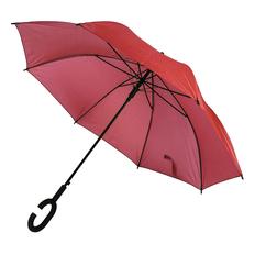 Зонт трость полуавтомат Halrum, С-образная ручка soft souch, красный фото
