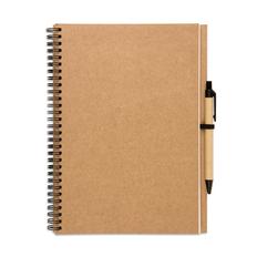 Блокнот на пружине с авторучкой B5, 70 стр., крафт/ черный фото