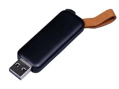 Флешка USB 2.0 на 64 Гб Промо, выдвижной механизм, черная/ коричневая фото