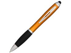 Ручка стилус шариковая пластиковая Nash, черная / оранжевая фото