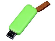 Флешка USB 2.0 на 64 Гб Промо, выдвижной механизм, зеленая/ коричневая фото