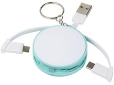 Брелок кабель 3 в 1: micro USB/ Lighting/ Type С круглый, белый/ бирюзовый фото