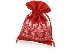 Мешочек подарочный новогодний с узором, светло-красный/белый фото