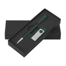"""Набор Klio Eterna: Ручка шариковая """"Jona"""" и флеш-карта """"TWISTA MMS"""" 16 Гб, зеленый фото"""
