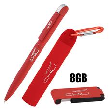 """Набор Chili: Ручка шариковая """"Jupiter"""", флеш-карта """"Case"""" 8 Гб и зарядное устройство """"Minty"""" с карабином 2800 mAh, покрытие soft touch, красный фото"""