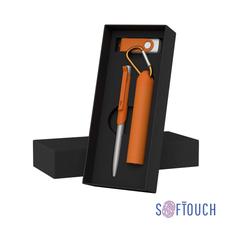 """Набор Chili: Ручка шариковая """"Skil"""", флеш-карта """"Vostok"""" 16 Гб и зарядное устройство """"Minty"""" с карабином 2800 mAh, покрытие soft touch, оранжевый фото"""