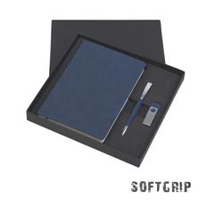 Подарочный набор Комо: ежедневник недатированный, ручка, флеш-карта, покрытие soft grip, 16Gb, синий фото