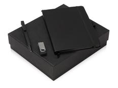 Набор подарочный Q-edge: флешка, ручка-подставка и блокнот А5, черный фото