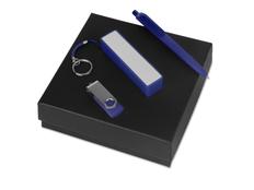 Подарочный набор Space Pro с флешкой, ручкой и зарядным устройством, белый/ синий фото