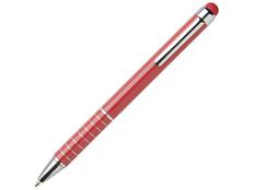 Ручка шариковая металлическая со стилусом для сенсорных экранов, красная фото