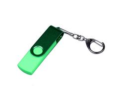 Флешка USB 2.0/micro USB/Type-С на 32 Гб 3-в-1 с поворотным механизмом, зеленая фото