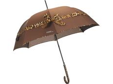 Зонт трость полуавтомат с бантом Ferre Milano, коричневый фото