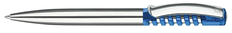 Ручка шариковая металлическая Senator New Spring Chrome Clear, ярко-синяя фото
