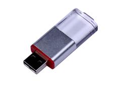 Флешка USB 2.0 на 64 Гб Промо, выдвижной механизм, красная/ прозрачная фото