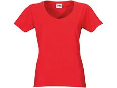 Футболка женская с V образным вырезом US Basic Heavy Super Club, красная фото