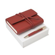 Набор (записная книжка, ручка шариковая), красный фото