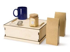 Набор подарочный Tea Duo Deluxe: кружка, мед, чай, ситечко, крафт / синий фото