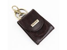 Брелок-монетница кожаный, коричневый фото