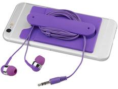 Набор: наушники проводные внутриканальные, картхолдер силиконовый, фиолетовый фото