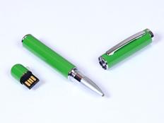 Флешка USB 2.0 на 64 Гб в виде ручки с мини чипом, зеленая/ металлик фото