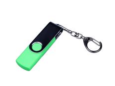 Флешка USB 2.0/micro USB/Type-C на 32 Гб c поворотным механизмом, зеленый/ металлик фото