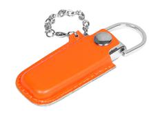 Флешка металлическая на 64 Гб в кожаном чехле на цепочке, оранжевый фото