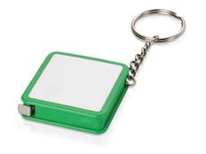 Брелок - рулетка квадратный с вставкой, зеленый фото