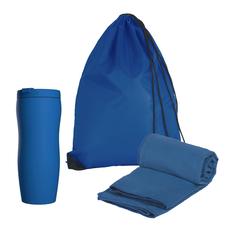 Набор подарочный: термостакан, полотенце, рюкзак, синий фото
