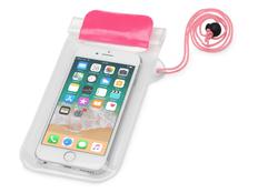 Чехол для телефона водонепроницаемый на шею Mambo, розовый/ прозрачный фото