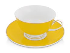 Чайная пара: чашка на 200 мл с блюдцем, желтый фото