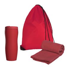 Набор подарочный: термостакан, полотенце, рюкзак, красный фото