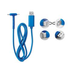 Кабель зарядный USB 3 в 1: micro USB / Lightning / Type C, голубой фото