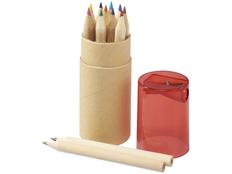 Набор цветных карандашей в тубусе с точилкой, 12 шт, крафт/ темно-красный фото