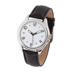 Часы наручные, кожа, серебряный/темно-коричневый фото
