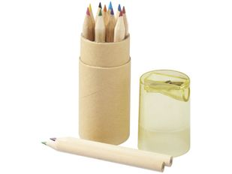 Набор цветных карандашей в тубусе с точилкой, 12 шт, крафт/ прозрачный желтый фото