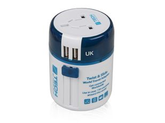 Переходник для розетки, 2 USB порта Travel Blue Twist & Slide, белый фото