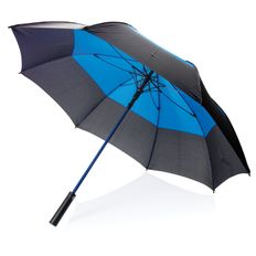 """Зонт трость антишторм двухцветный автомат XD Collection 27"""", черный / голубой фото"""