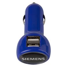Зарядное устройство автомобильное на 2 порта с подсветкой BrandCharger Logocharger Slim, синее фото